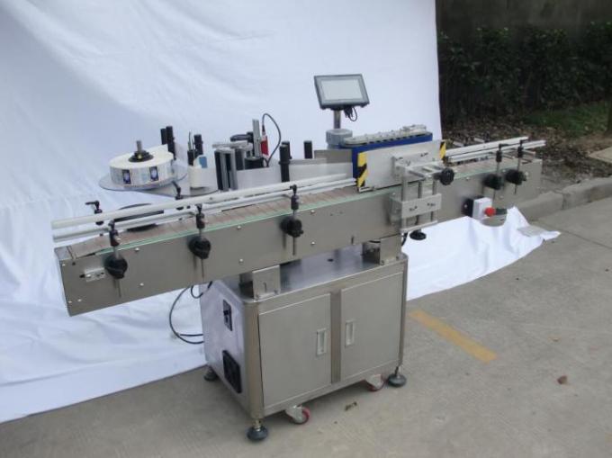 Avtomatski stroj za etiketiranje okrogle steklenice za nesuho lepilo, stroj za etiketiranje embalaže za leseno ohišje / izvoz za CE